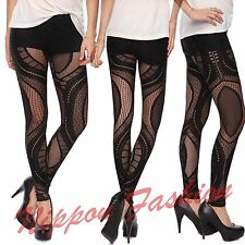 Forever21 Lace Clubwear Cutout Sheer Runway Celebrity Goth Fetish Vogue Leggings