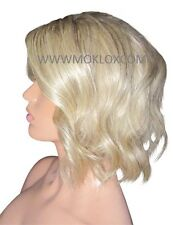 "Glueless Remy Human Hair Wig Full Lace 10"" Medium Bob Light Blonde Ash Silk Top"