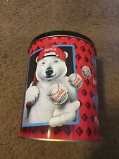 Cute collectible Coca Cola Coke Tin Jar Polar Bear Baseball Print Logos 7 1/2""