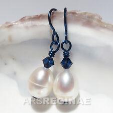 Hautfreundlich wie TITAN :NIOB Große weiße echt Zucht Perlen & Krislall Ohrringe
