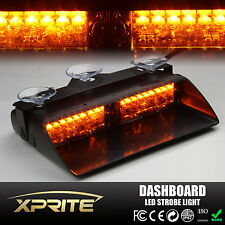 High Intensity 18W 16 LED Dash Windshield Emergency Flash Strobe Light Amber