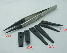 Stainless Steel Handle + 4 set Plastic Tweezers Antistatic Plier for IC SMD SMT