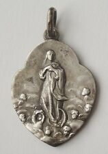 GORGEOUS OLD RELIGIOUS MEDAL VIRGIN MARY WITH LITTLE ANGELS