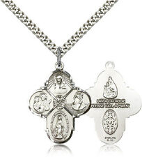 ".925 Sterling Silver Four Way Cross Necklace For Men On 24"" Chain - 30 Day Mo..."