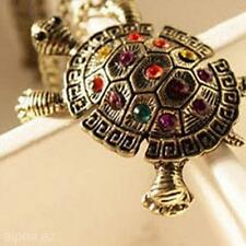 Vintage Tortoise Animal Model 3D Sweater Necklace Chain Jewelry Pendant for Lady