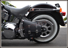 leather solo bag black for harley softail and other motorcycle custom - NEW -