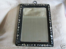 ANTIQUE CHINESE WOODEN MOTHER OF PEARL INLAY BEVELLED MIRROR