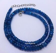111cts Color Blue Natural Neon Earth Mined Apatite Necklace  925 Sterling Silver