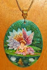 UNIQUE hand painted FLOWER Fairy Shell pendant PAKHOMOVA Christmas GIFT