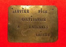 VARENNES-CHANGY PLAQUE CUIVRE AUTOMOBILE ANCIENNE OU REMORQUE JANVIER-PIGé