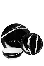 NEW Salt&Pepper Marble 12 Piece Dinner Set - Black