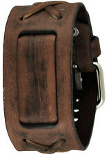 Nemesis Faded Brown X Genuine Leather Watch Cuff Band Strap Vintage Style 20mm