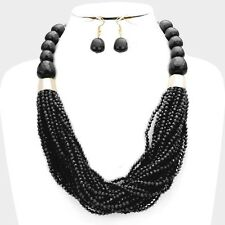 Multi Strand Black Small Faceted Lucite Acrylic Bead Chunky Necklace Earring