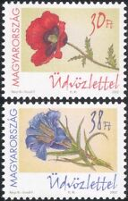 Hungary 2002 Greetings/Flowers/Plants/Nature/Poppy/Poppies/Gentian 2v set (s795)