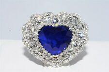 "$60,000 7.65CT AGL CERTIFIED NATURAL SAPPHIRE & DIAMOND HEART RING ""GREAT COLOR"""