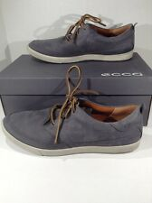 ECCO Men's Gray Leather Lace Up Casual Walking Shoes Size 10 - 10.5 ZF-355