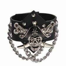 Metal Pirate Skull Punk Chain Leather Bangle Cuff Bracelet Men HE