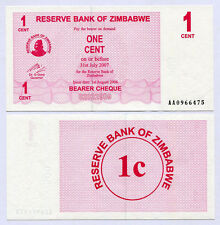 Zimbabwe 1 Cent Bearer Cheque AA 2006 P33 UNC currency bill
