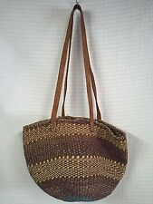 Woven SISAL BAG Natural Brown Leather Strap KENYA ethnic Jute tote Purse African