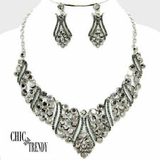 HIGH END CHUNKY CRYSTAL PROM WEDDING FORMAL NECKLACE JEWELRY SET CHIC AND TRENDY
