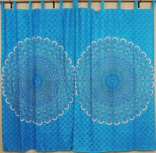 Peacock Curtains – Blue Indian Cotton Window Panels with Tail Fan Pattern Print