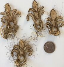 Antique Metallic Lace Fleur De Lis Silk Fragments Trims Dolls Doll  DIY
