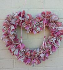 Rag Wreath Heart patchwork Cotton material  vintage.PINK with 2 heart beads 45cm