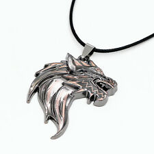 Mens Stainless Steel Wolf Head Pendant Leather Chain Necklace Jewelry