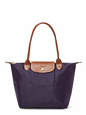 NEW AUTH LONGCHAMP LE PLIAGE MEDIUM NYLON LEATHER TOTE BAG Bilberry Purple $125
