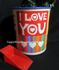 Tupperware New One Touch Large Jumbo I LOVE YOU Storage Valentine Canister BLUE