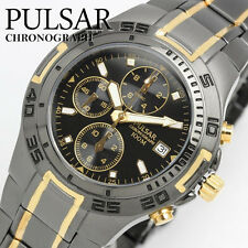 Mens New Pulsar Black Metal & Gold Plate Chronograph 100m Watch PF8413X1 Rp £180