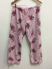 Pj Salvage Pj Lounge Pants Sz M 100% Cotton Pink With Red Hearts