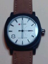 MENS WRISTWATCH-CURREN-QUARTZ-BROWN LEATHER BAND-WATER RESSISTANT-SS BACK