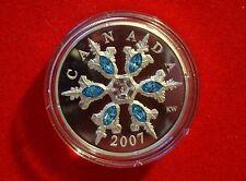 2007 Proof $20 Silver Blue Swarovski Crystals Snowflake Piedfort - No Tax