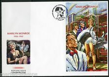 CENTRAL AFRICA  2015 MARILYN MONROE JACK LEMON & TONY CURTIS S/S FIRST DAY COVER