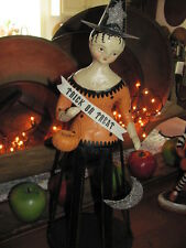 Folk Art Hand Painted Halloween Treat or Treat Cage Doll Witch w/ Pumpkin & Moon