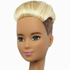 2016 Barbie NUDE Evolution Fashionistas TALL Doll Blonde Brown Hair Shaved Sides