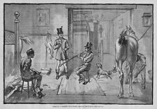 COACHING CLUB STABLE MEN JOCKEY TRUMPET HORN ANTIQUE ENGRAVING HORSE GROOMING
