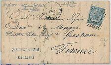 ITALIA REGNO:  Sassone 25 su LETTERA: CAGLIARI UFICIO DEL PORTO - BELLO! 1867