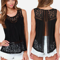 Size 8-20 Ladies Lace Tank Top Sleeveless T-shirt Vest Summer Blouse Tee Tops