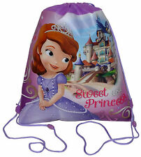 12 Sling Bags Tote Drawstring Non-Woven Princess Sofia The First Purple NEW