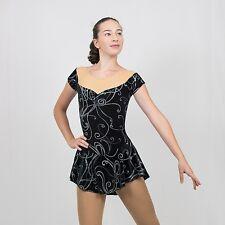 Ice Skating Figure Skating black velvet/ glitter swirls print size XSMALL Adult