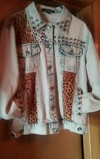 Womens  Forever 21 Acid Wash  Spike  Denim Jean jacket W/ Leopard,  medium