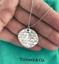 Tiffany & Co Sterling Silver 5th Fifth Avenue NOTES  Circle Pendant Necklace