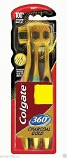 Colgate 360 Toothbrush Charcoal gold Gentle Clean Teeth tongue Gums cheeks -3 pc
