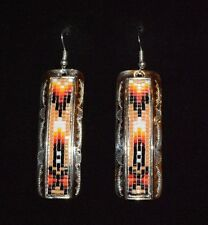 Earrings Beaded Native American & Silver Nickel Navajo Geraldrita Whitehorne *