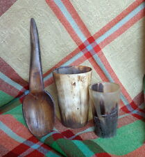 1850s TWO Antique Cow Horn Cup s - ONE Large Horn Spoon Gorgeous  Rustic Display