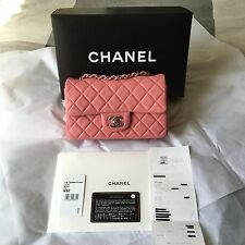 "2013B CHANEL Mini Flap 8"" Lamb Skin Classic Quilted Pink / Silver Hardware Auth*"
