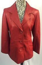 NORDSTROM Glove Soft Red Genuine Lamb Skin Leather Lined Jacket Size S Beautiful