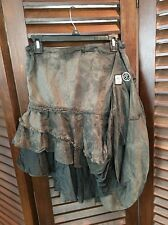 Diesel Steampunk Gathered Tiered Skirt Patches Olive Brown Women's Size Medium